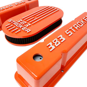 383 stroker valve covers and air cleaner lid kit, raised logo, orange, right side view