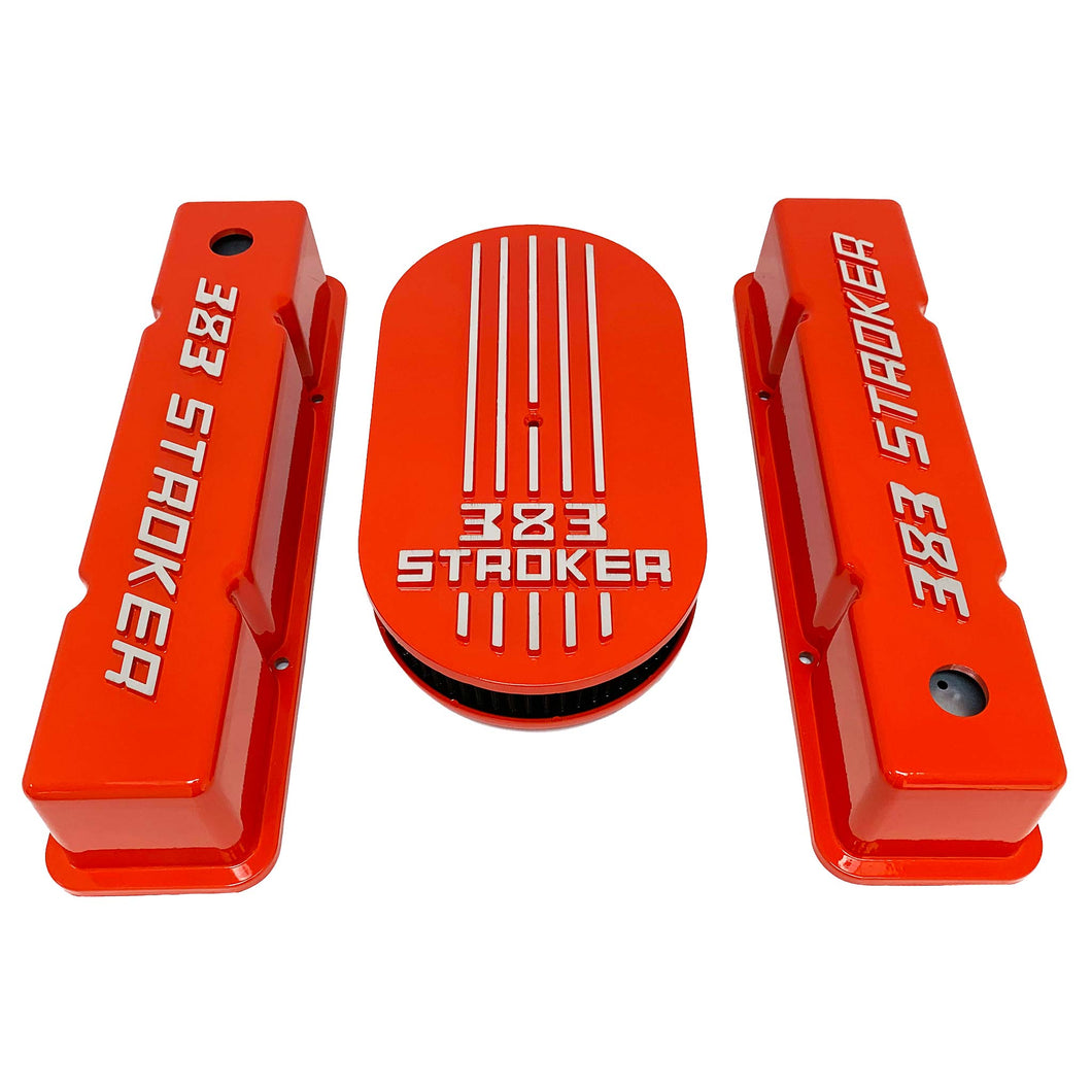 383 stroker valve covers and air cleaner lid kit, raised logo, orange, front view