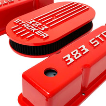 Load image into Gallery viewer, 383 stroker valve covers and air cleaner lid kit, raised logo, red, right side view