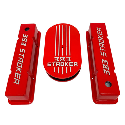 383 stroker valve covers and air cleaner lid kit, raised logo, red, front view