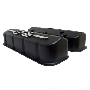ansen big block chevy valve covers 396 black, side profile view