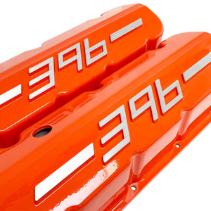 ansen usa, big block chevy 396 valve covers orange, angled view