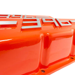 ansen usa, big block chevy 396 valve covers orange, close up view