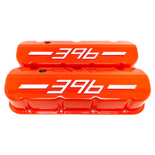 Load image into Gallery viewer, ansen usa, big block chevy 396 valve covers orange, front view