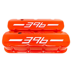 ansen usa, big block chevy 396 valve covers orange, front view