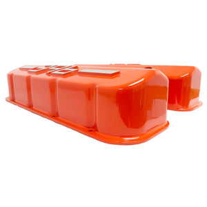 ansen usa, big block chevy 396 valve covers orange, side profile view