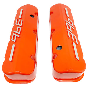 ansen usa, big block chevy 396 valve covers orange, top view