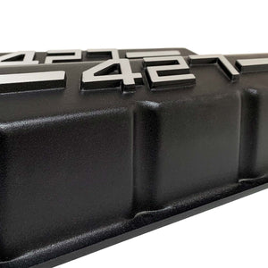 ansen big block chevy valve covers 427 black, close up view