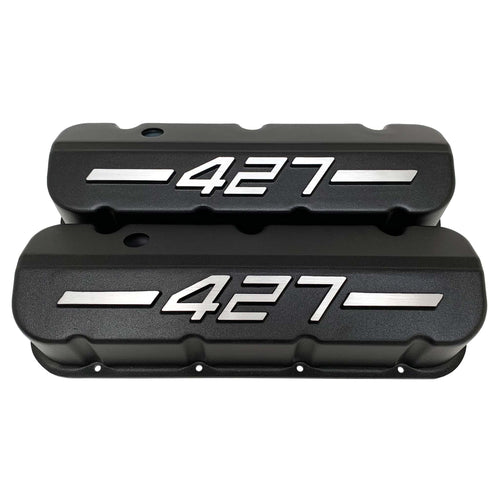 ansen big block chevy valve covers 427 black, front view