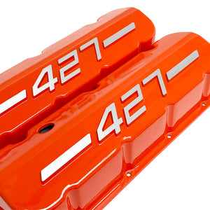 ansen usa, big block chevy 427 valve covers orange, angled view