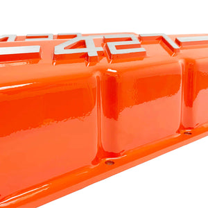 ansen usa, big block chevy 427 valve covers orange, close up view