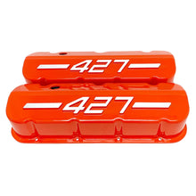 Load image into Gallery viewer, ansen usa, big block chevy 427 valve covers orange, front view