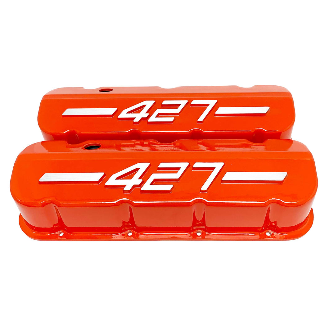 ansen usa, big block chevy 427 valve covers orange, front view
