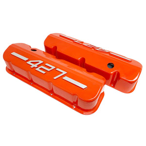 ansen usa, big block chevy 427 valve covers orange, top profile view