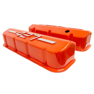 ansen usa, big block chevy 427 valve covers orange, side profile view