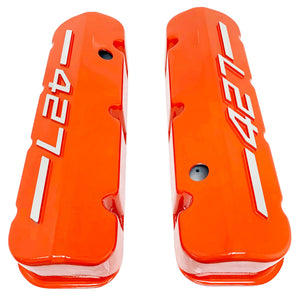 ansen usa, big block chevy 427 valve covers orange, top view