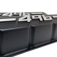 Load image into Gallery viewer, ansen big block chevy valve covers 496 black, close up view