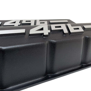 ansen big block chevy valve covers 496 black, close up view