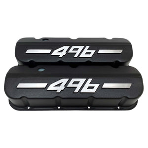 ansen big block chevy valve covers 496 black, front view