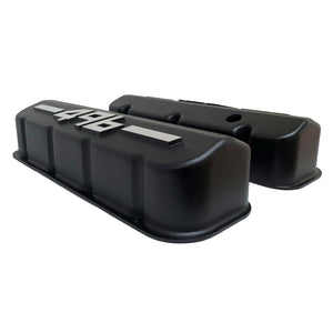 ansen big block chevy valve covers 496 black, side profile view