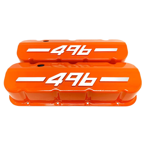 ansen usa, big block chevy 496 valve covers, orange, front view