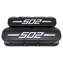 Load image into Gallery viewer, ansen big block chevy 502 valve covers, raised logo, black, front view