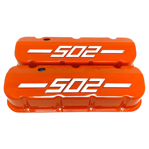 ansen usa, big block chevy 502 valve covers, orange, front view