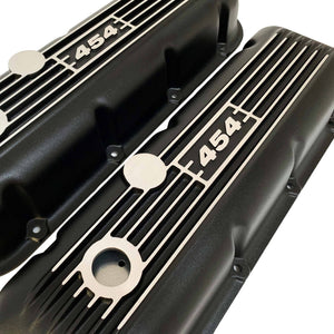 ansen custom engraving, big block chevy 454 valve covers, black, angled view