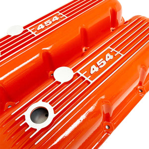 big block chevy classic valve covers, 454, orange, ansen usa, angled view