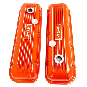 big block chevy classic valve covers, 454, orange, ansen usa, top view