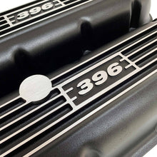 Load image into Gallery viewer, big block chevy classic valve covers, 396, black, ansen usa, close up view