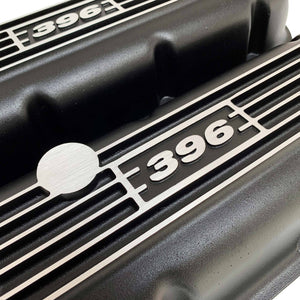 big block chevy classic valve covers, 396, black, ansen usa, close up view