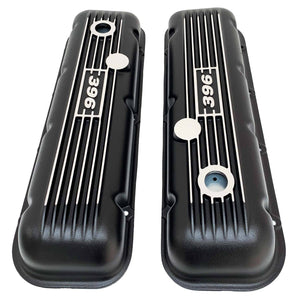 big block chevy classic valve covers, 396, black, ansen usa, top view
