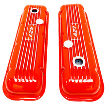 Load image into Gallery viewer, ansen custom engraving, big block chevy 427 valve covers, orange, top view