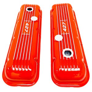big block chevy classic valve covers, 427, orange, ansen usa, top view