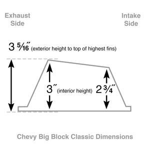 big block chevy classic valve covers, 396, black, ansen usa, dimensions diagram