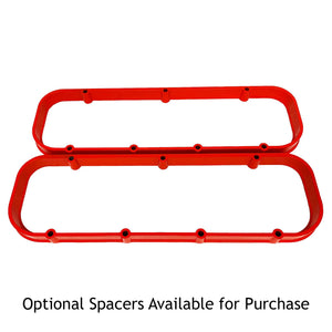big block chevy valve cover spacers, orange, ansen usa, front view
