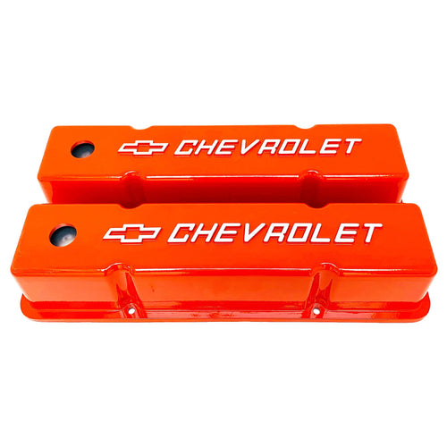 small block chevy bowtie logo tall valve covers, orange, ansen usa, front view