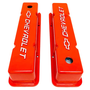 ansen valve covers, chevy small block, chevrolet bowtie logo, raised letter, orange powder coat, top view