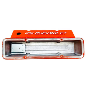 small block chevy bowtie logo tall valve covers, orange, ansen usa, underside view