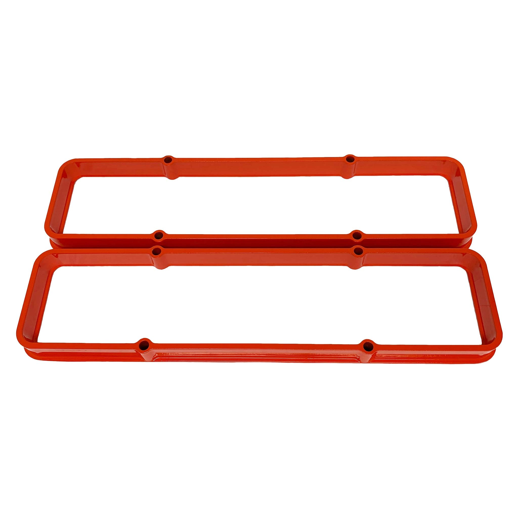 ansen valve cover spacers, chevy small block, orange powder coat
