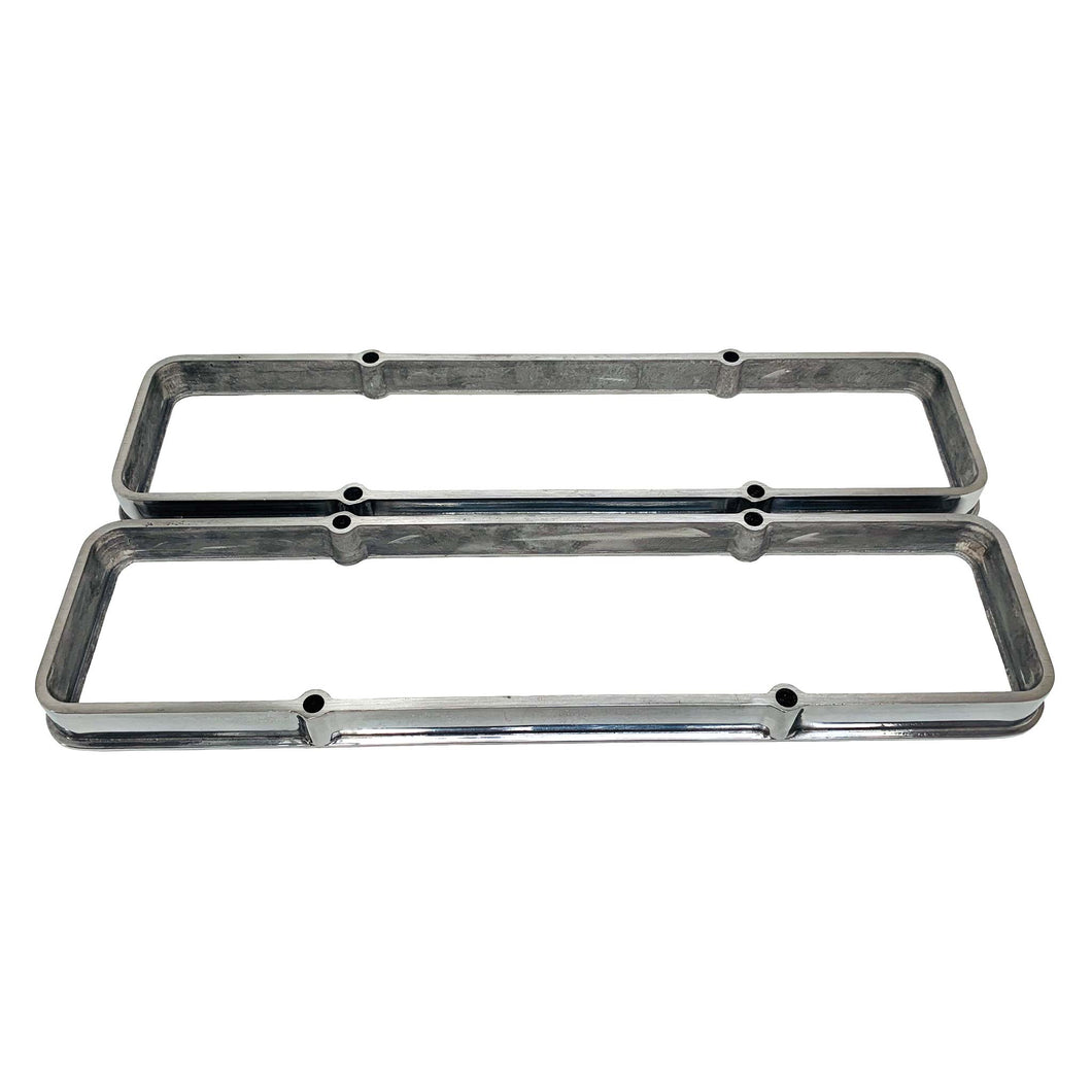 ansen valve cover spacers, chevy small block, polished, front view
