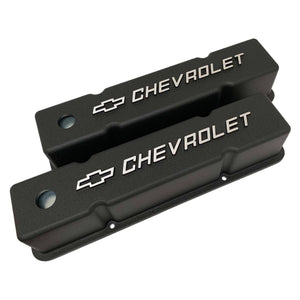 small block chevy bowtie logo tall valve covers, black, ansen usa, angled view