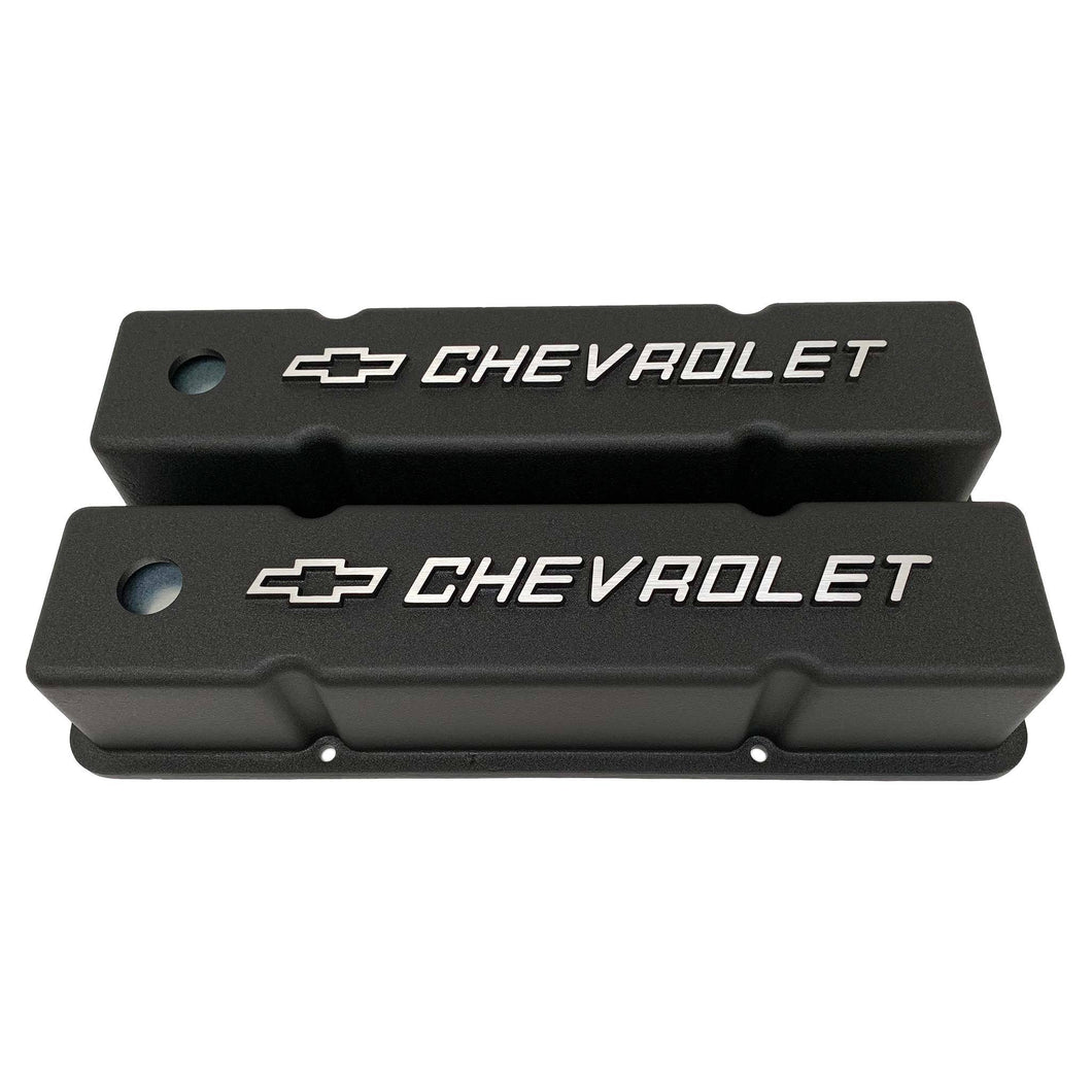 small block chevy bowtie logo tall valve covers, black, ansen usa, front view