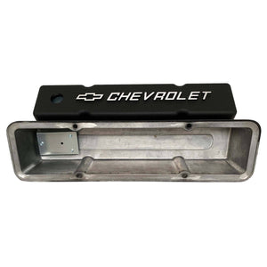 small block chevy bowtie logo tall valve covers, black, ansen usa, underside view