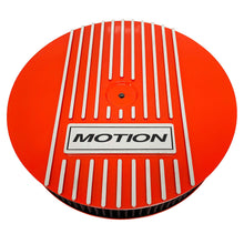 Load image into Gallery viewer, ansen custom engraving, baldwin motion 13 inch air cleaner lid kit, orange, front view