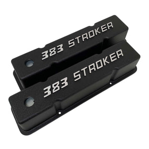 ansen valve covers, 383 stroker small block chevy, black, angled view