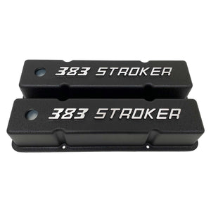 ansen valve covers, 383 stroker small block chevy, black, front view