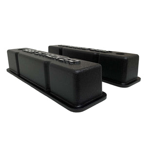 ansen valve covers, 383 stroker small block chevy, black, side profile view