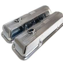 Load image into Gallery viewer, ansen custom engraving, ford fe 428 cobra jet valve covers, finned styling, polished, angled view